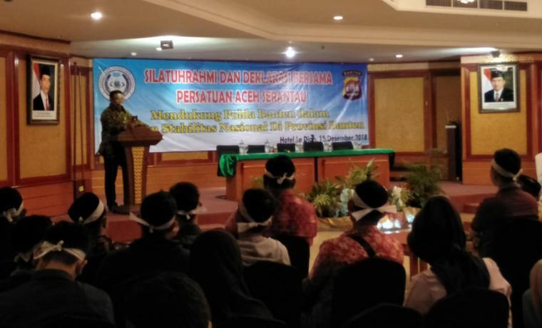 Suasana acara silaturahmi dan deklarasi bersama persatuan Aceh serantau di salah satu hotel di Kota Serang, Sabtu (15/12/2018). (Foto: TitikNOL)