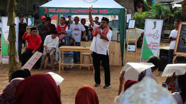 Rano Karno saat mengisi acara peluncurkan relawan Tangerang Bersatu. (Foto: TitikNOL)