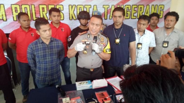 Konference Pers Polres Tangerang Kota pengungkapan bandit jalanan. (Foto: TitikNOL)