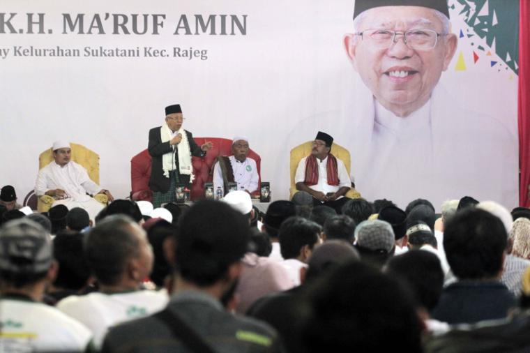 Calon Wakil Presiden Kiyai Maruf Amin, saat berpidato di acara deklarasi Tangerang Ngahiji. (Foto: Ist)