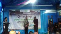 Dir Lantas Polda Banten Kombes Pol Wibowo, SIK, HUm saat memberikan sambutan dalam acara Mewujudkan Milenial Cinta Lalu Lintas Menuju Indonesia Gemilang di Alun-alun Barat Kota Serang (Foto: TitikNOL)