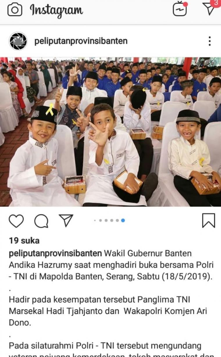 Salah satun screnshoot foto yang diposting di akun resmi milik Pemprov Banten. (Foto: Ig)