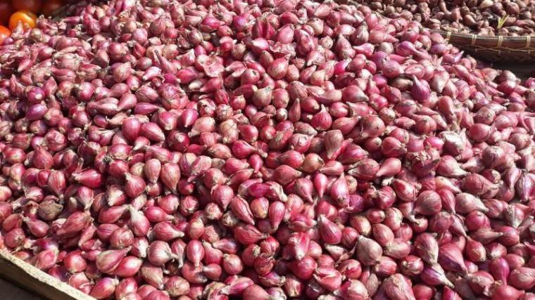 Bawang merah yang di jual di Pasar Induk Rau Kota Serang. (Foto: TitikNOL)