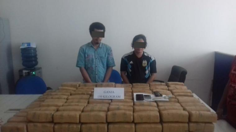 Barang bukti 150 Kilogram narkotika jenis ganja yang di gagalkan Badan Narkotika Nasional Provinsi (BNNP) Banten. (Foto: TitikNOL)