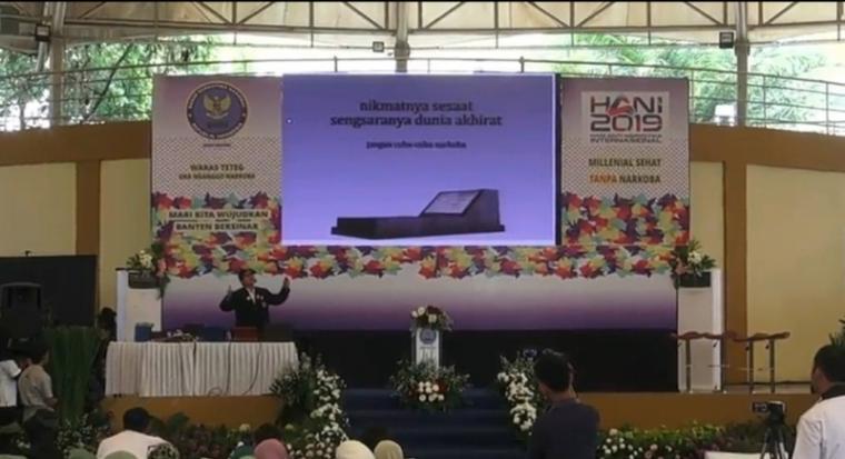 Badan Narkotika Nasional Provinsi (BNNP) Banten, peringati Hari Anti Narkotika Internasional (HANI) 2019 dengan kampanyekan stop narkoba di kalangan pelajar, remaja dan mahasiswa, Rabu (3/7/2019). (Foto: TitikNOL)