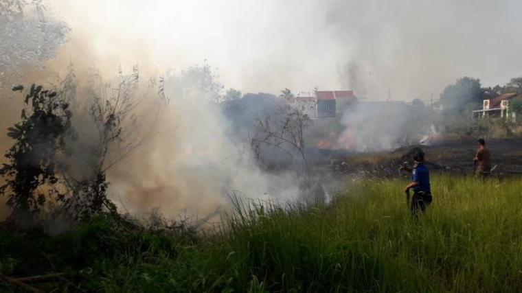 Kebakaran lahan alang - alang yang terjadi di Rangkasbitung tepatnya di kawasan Blok Perumahan BTN Pasir Ona, Desa Rangkasbitung Timur, Kecamatan Rangkasbitung, Kabupaten Lebak. (Foto: TitikNOL)