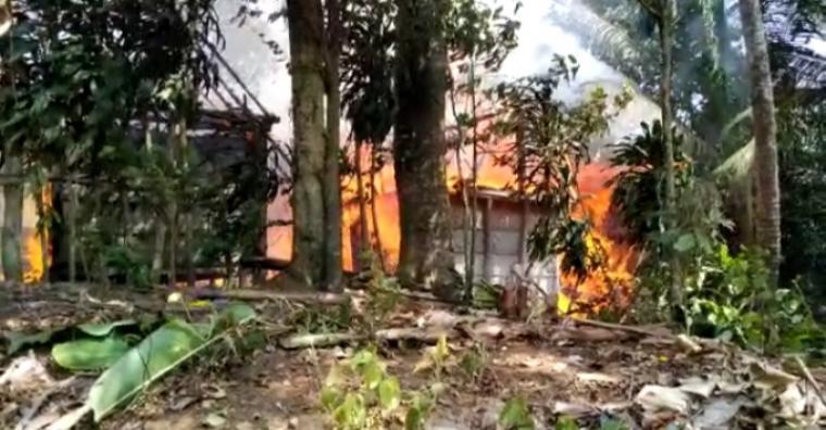 Kebakaran yang terjadi di Kampung Kadu Gede, Desa Kanekes, Kecamatan Leuwidamar, Kabupaten Lebak. (Foto: TitikNOL)