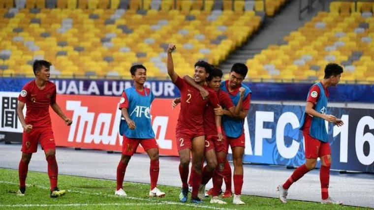 Selebrasi Timnas Indonesia U-16 usai cetak gol. (Dok: bola)