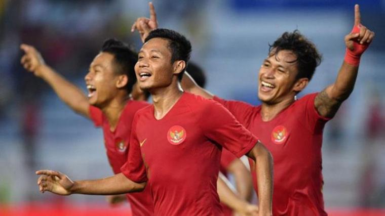 Selebrasi pemain Timnas Indonesia usai cetak gol lawan. (Dok: Tempo)