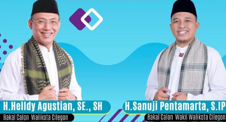 Bakal pasangan calon Walikota dan Wakil Walikota Cilegon Helldy Agustian - Sanuji Pentamarta. (Foto: TitikNOL)