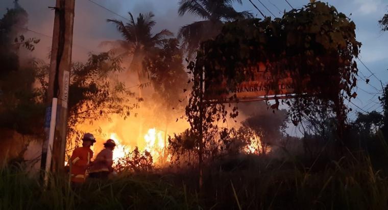 Petugas pamadam kebakaran saat memadamkan api yang membakar Alang - alang di lahan kosong milik Kantor Dinsos Pemprov Banten. (Foto: TitikNOL)