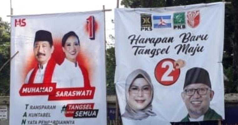 Alat peraga kampanye Pemilihan Kepala Daerah (Pilkada) Kota Tangerang Selatan (Tangsel). (Foto: TitikNOL)