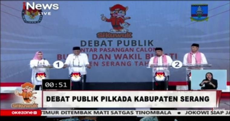 Debat kandidat calon Bupati dan Wakil Bupati Serang, yang ditayangkan secara langsung di salah satu stasiun tv swasta yakni iNews TV pada Rabu (18/11/2020) malam. (Foto: TitikNOL)