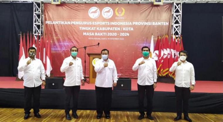 Ahmad Syawqi saat dilangi sebagai Ketum ESI Tangerang Selatan, di Gedung KONI Serang, Banten. (Foto: TitikNOL)