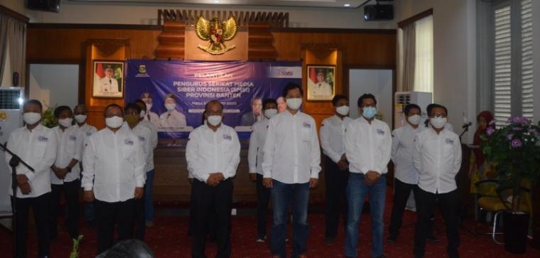 Suasana pelantikan Serikat Media Siber Indonesia (SMSI) Provinsi Banten masa bakti 2020 - 2025. (Foto: TitikNOL)