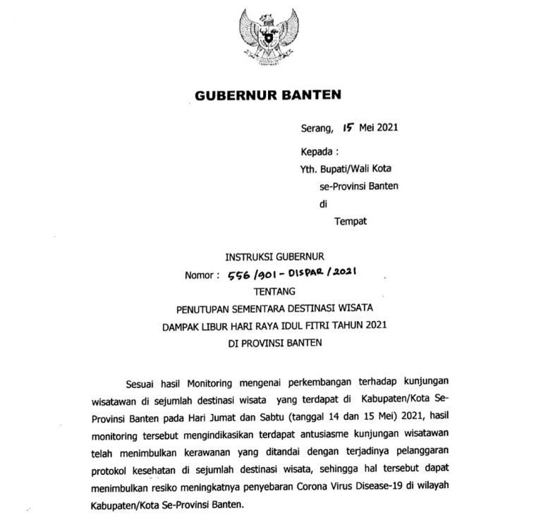 Penggalan instruksi Gubernur Banten Wahidin Halim kepada bupati dan wali kota soal penutupan objek wisata. (Foto: Ist)